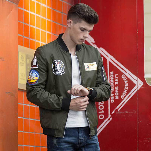 Fashion Casual Logo Solid Color Men's Flight Jacket - KINGEOUS