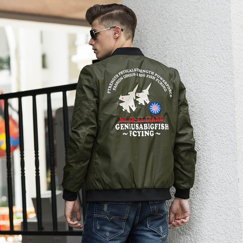 Casual Stand Collar Logo Solid Color Slim Men's Flight Jacket - KINGEOUS