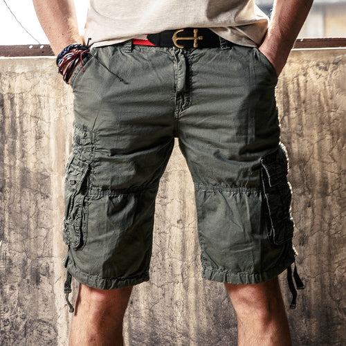 Causal Outdoor Multi Pockets Cotton Cargo Men Shorts - KINGEOUS