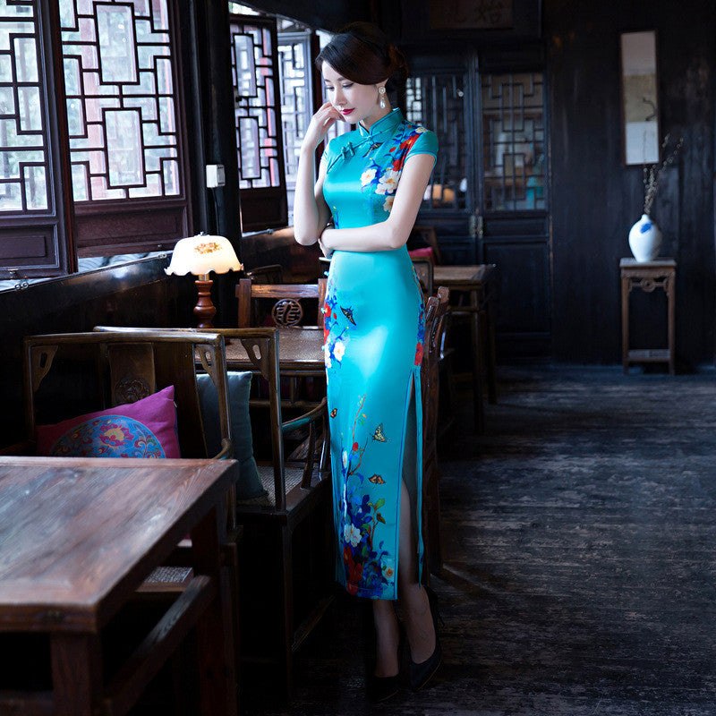 High-End Flowers Printed Cap Sleeves Band Collar Silk Blue Long Cheongsam - KINGEOUS