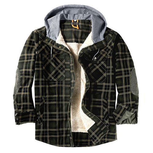 Winter Windproof Warm Hooded Plaid Men's Jacket