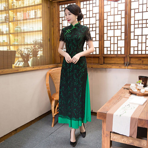 Black Lace Hollow Band Collar Short Sleeve Slim Green Ao Dai - KINGEOUS