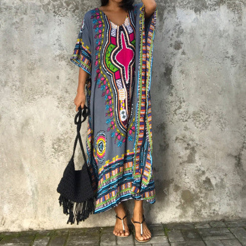 Chiffon Loose Bohemian Pattern Beach Maxi Dress - KINGEOUS