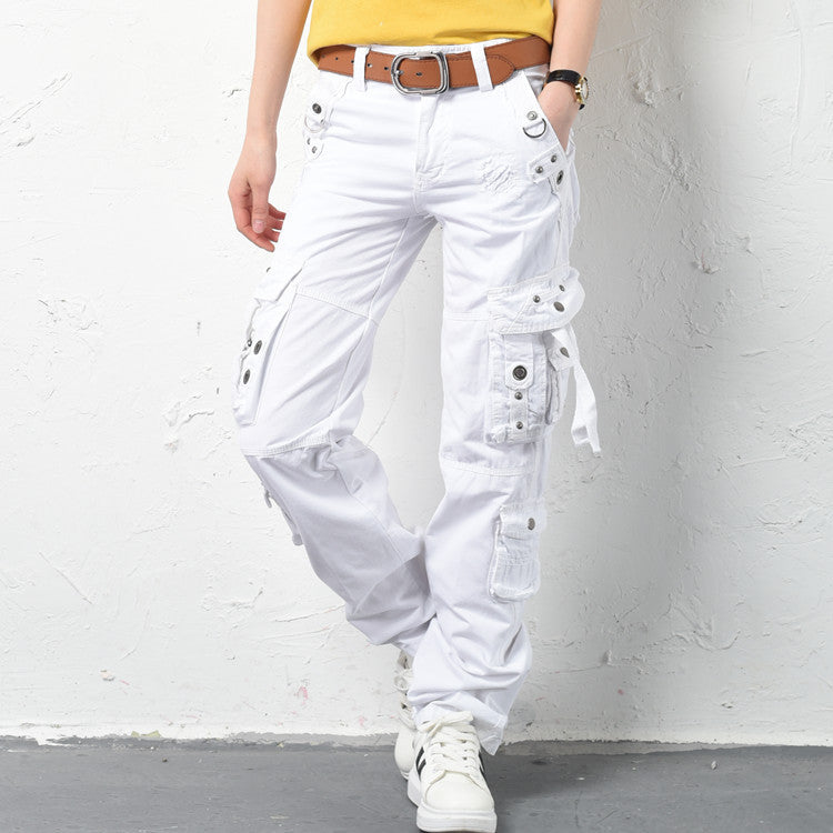 Cool Casual Hip Hop Rivet Women's Cargo Pants - KINGEOUS