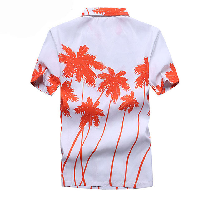 Coconut Tree Printed Short Sleeve Men Shirt - KINGEOUS