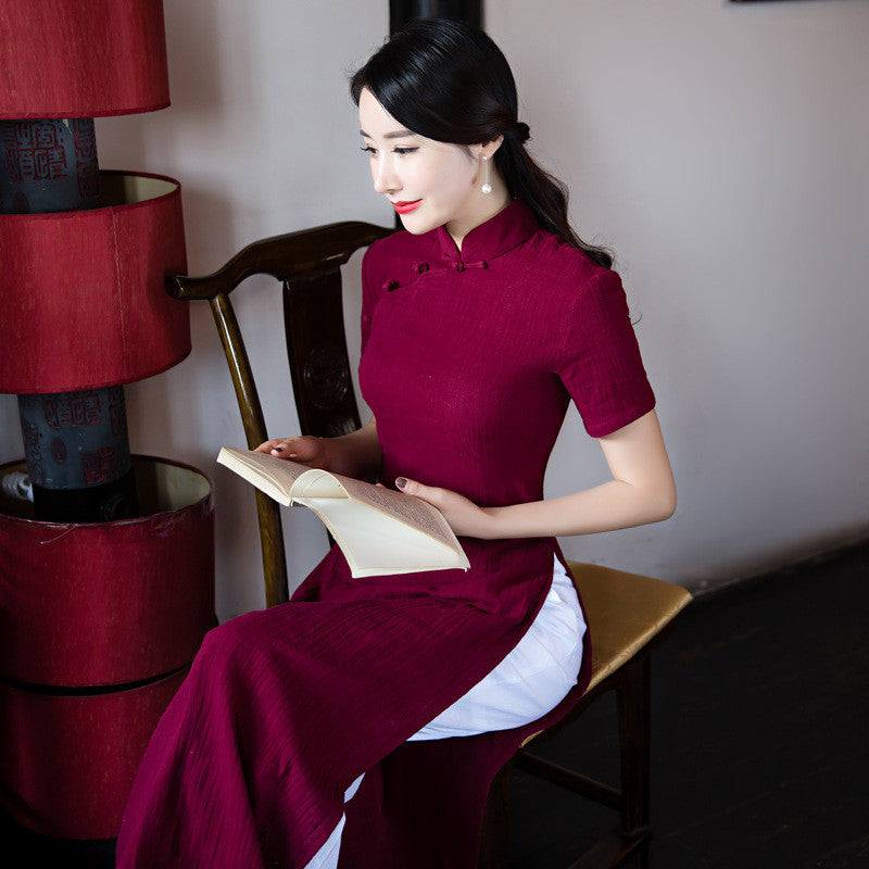 Solid Color Wine Red Flax Slim Band Collar Ao Dai - KINGEOUS