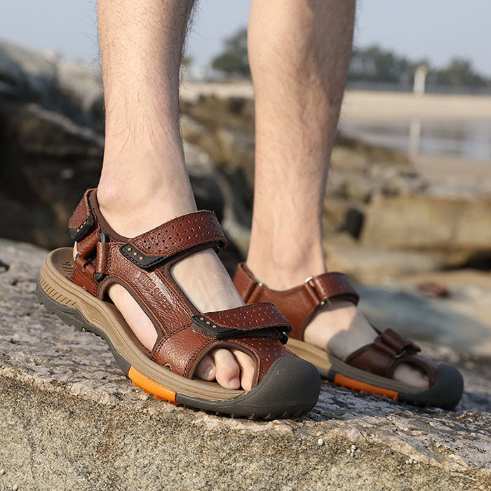 Leisure Non-Slip Wrapped Men's Leather Sandals