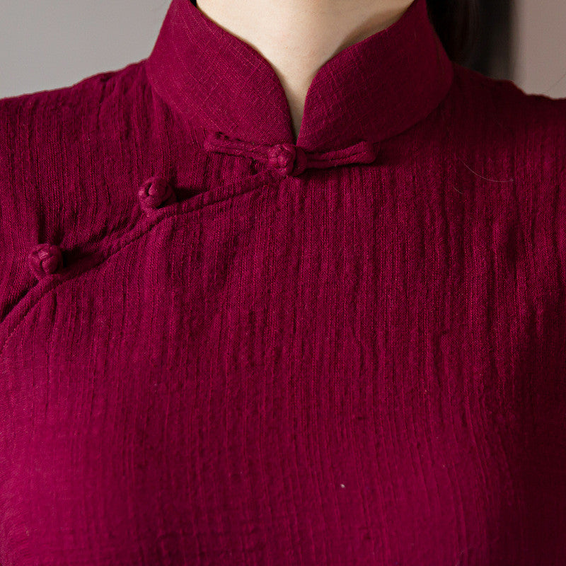 Solid Color Wine Red Flax Slim Band Collar Ao Dai