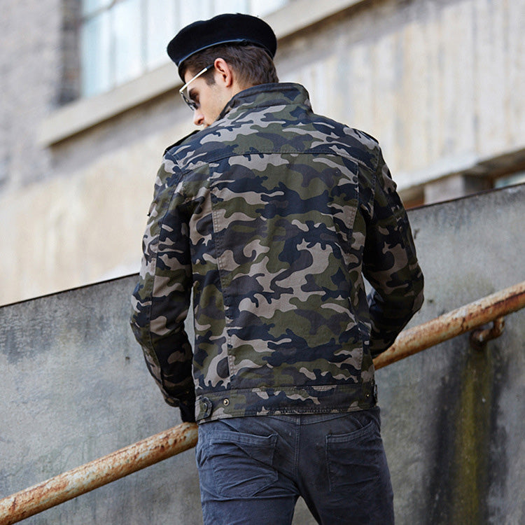 Army Style Camouflage Men's Flight Jacket Overcoat - KINGEOUS