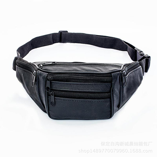 Three Floors High Capacity Leather Waist Pack