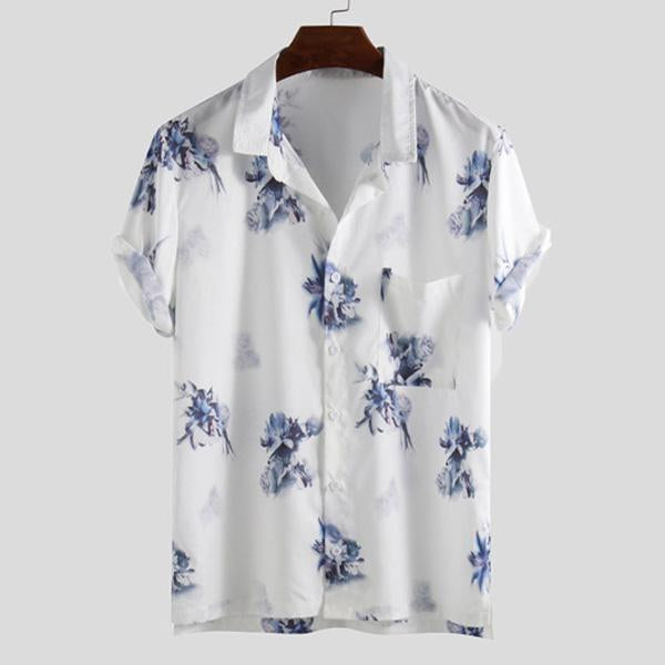 Daily Flowers Printed Casual Loose Men's Shirt