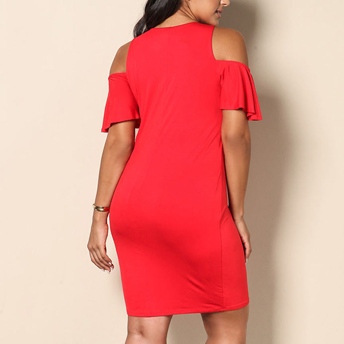 Sexy Hollow Off Shoulder Solid Color Slim Plus Size Short Dress
