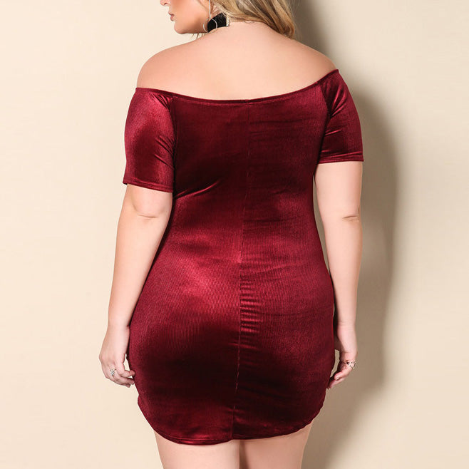 Sexy Solid Color Boat Neck Slim Plus Size Short Dress