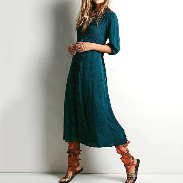 Florals Embroidery V-neck Cotton Loose Maxi Dress - KINGEOUS