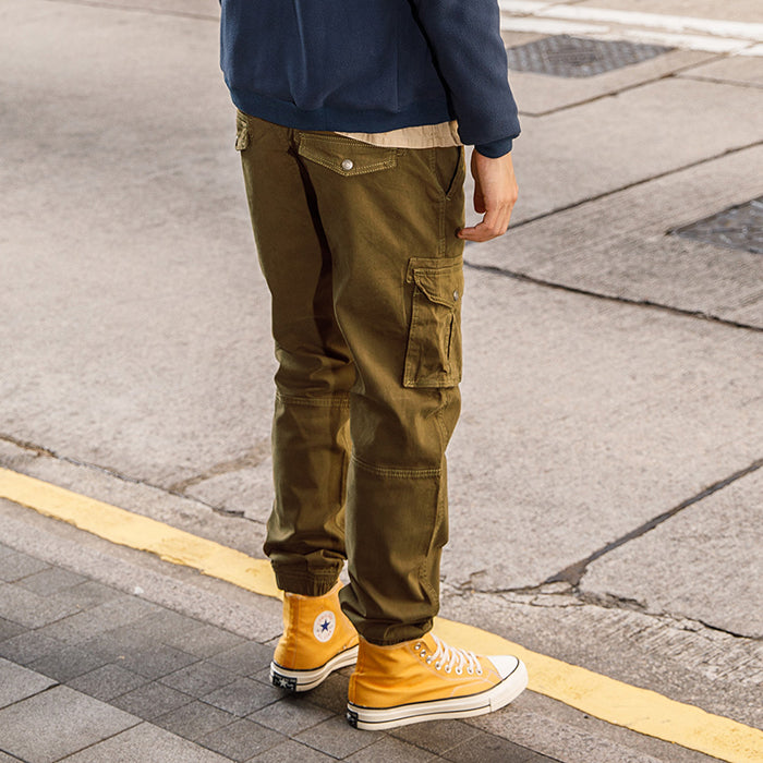 Casual Cotton Washed Loose Multi-Pocket Men's Cargo Pants - KINGEOUS