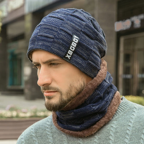 Winter Knitted Hat Scarf Set Wool Hat for Men Women
