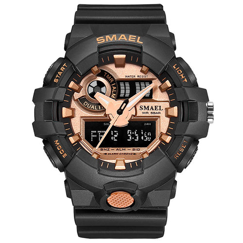 Waterproof Double Display Multi-function LED Men Wristwatch