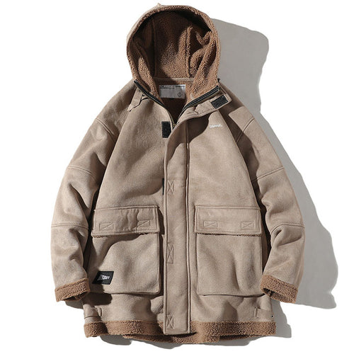 Thicken Suede Warm Cargo Hooded Men's Casual Outwear