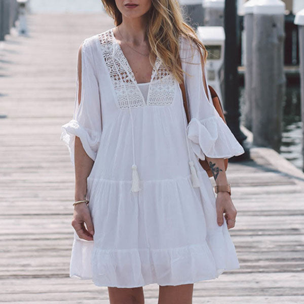 Causal White Hollow Boho Falbala Hem Short Dress - KINGEOUS