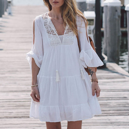 Causal White Hollow Boho Falbala Hem Short Dress