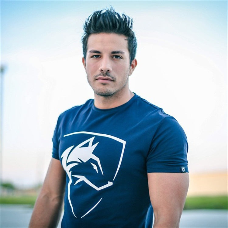 Sport Round Neck Elastic Sweat Absorption Men's T-shirt