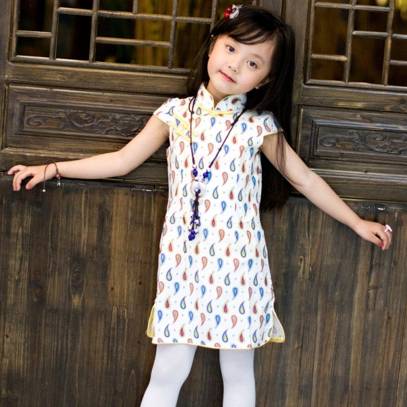 Water Drop Printed Kids' Short Cheongsam Dress