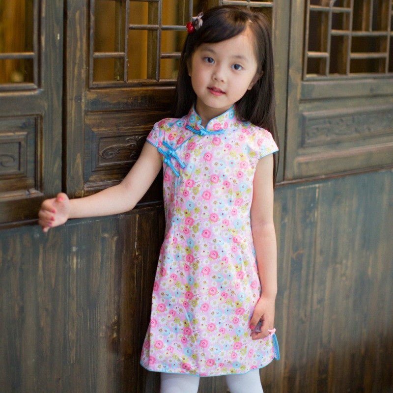 Florals Printed Kids' Short Cheongsam Dress - KINGEOUS