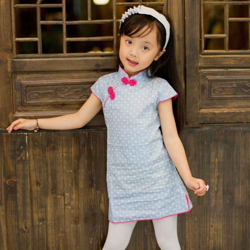 Lovely Printed Cotton Kids' Short Cheongsam Dress(2 Colors)