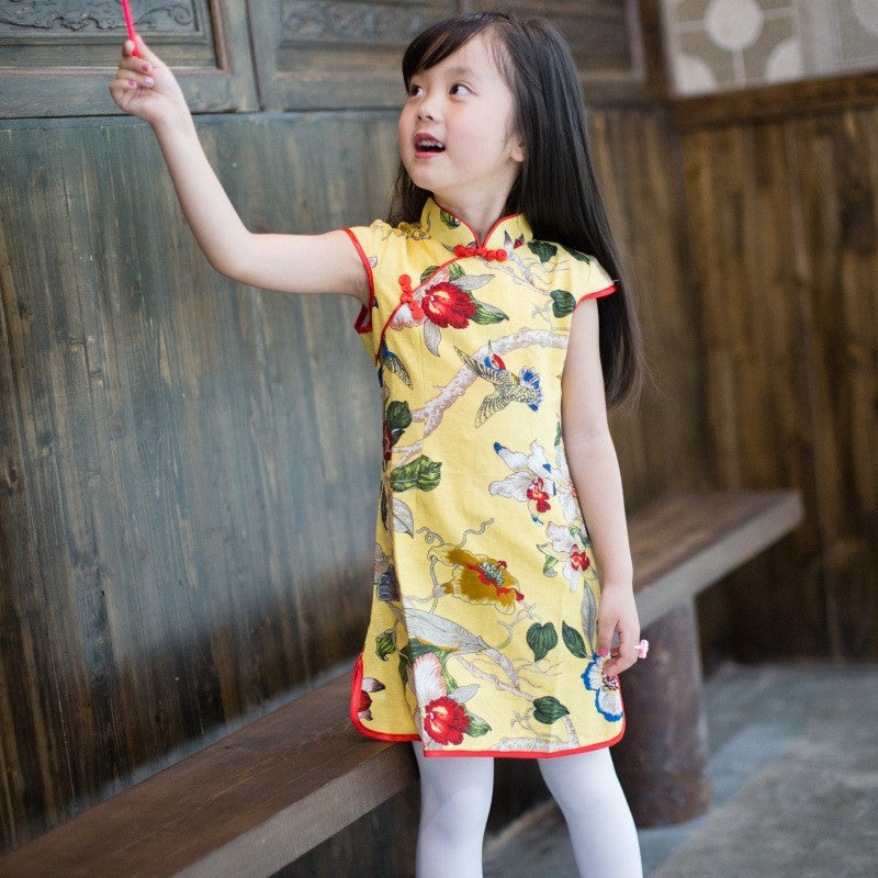 Flowers Printed Yellow Kids' Short Cheongsam Dress - KINGEOUS