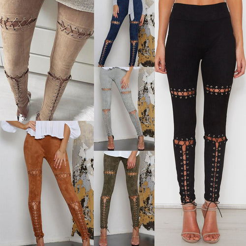 Fashion Hollow Bandage Slim Buckskin Women's Pants