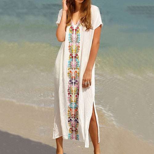 Charming Embroidery V-neck Short Sleeve Cotton Loose Maxi Dress - KINGEOUS