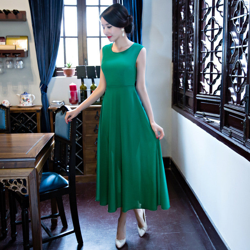 Luxury Printed Green Slim Two Piece Set Ao Dai