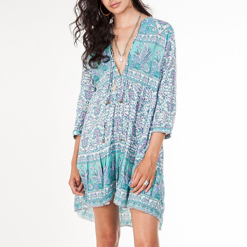 Casual Deep V-neck Loose Beach Short Dress - KINGEOUS