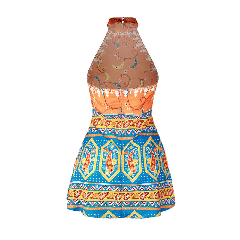 Boho Printed Sleeveless Backless Split Joint Slim Short Dress - KINGEOUS