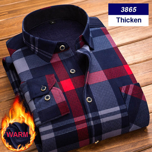 Thicken Plaid Printed Velvet Winter Warm Long Sleeve Men's Shirt