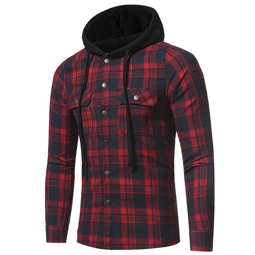 Flannel Plaid Hooded Casual Men's Long Sleeve Shirt