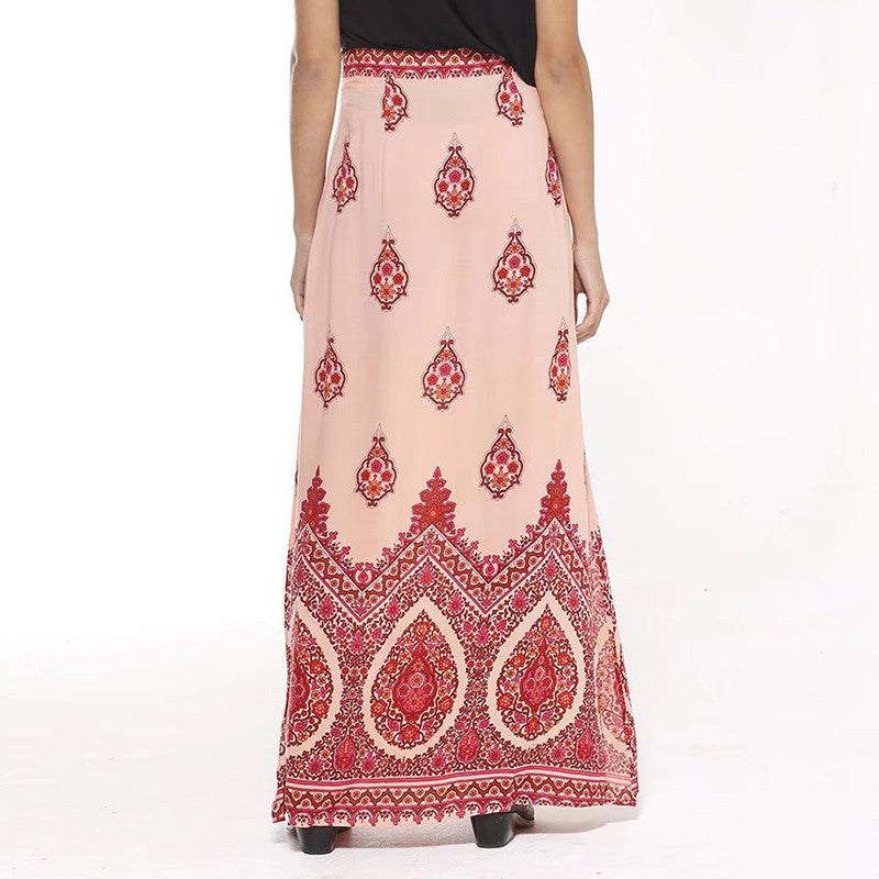 Boho Pattern Printed Slim Bodycon Beach Long Skirt - KINGEOUS