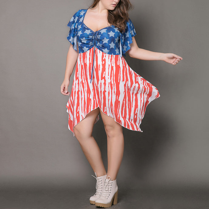 Fashion Deep V-neck Flag Printed Irregular Hem Plus Size Short Dress - KINGEOUS