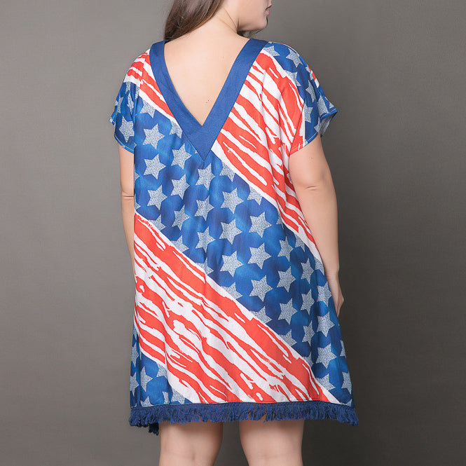 Casual Deep V-neck Flag Printed Tassel Short Dress - KINGEOUS
