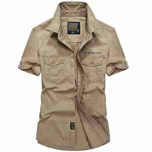 Washed Cotton Short-sleeve Men's Cargo Shirt