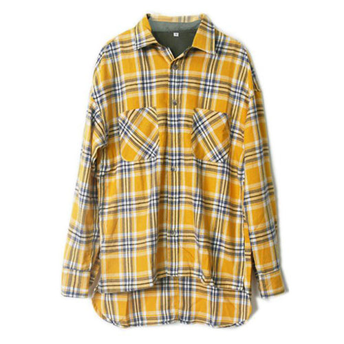 Men Women Couple Yellow Plaid Shirt Loose Front Short Back Long