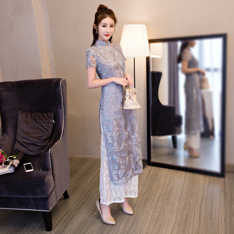 Gray Lace Two Pieces Set Ao Dai Dress with Pants - KINGEOUS
