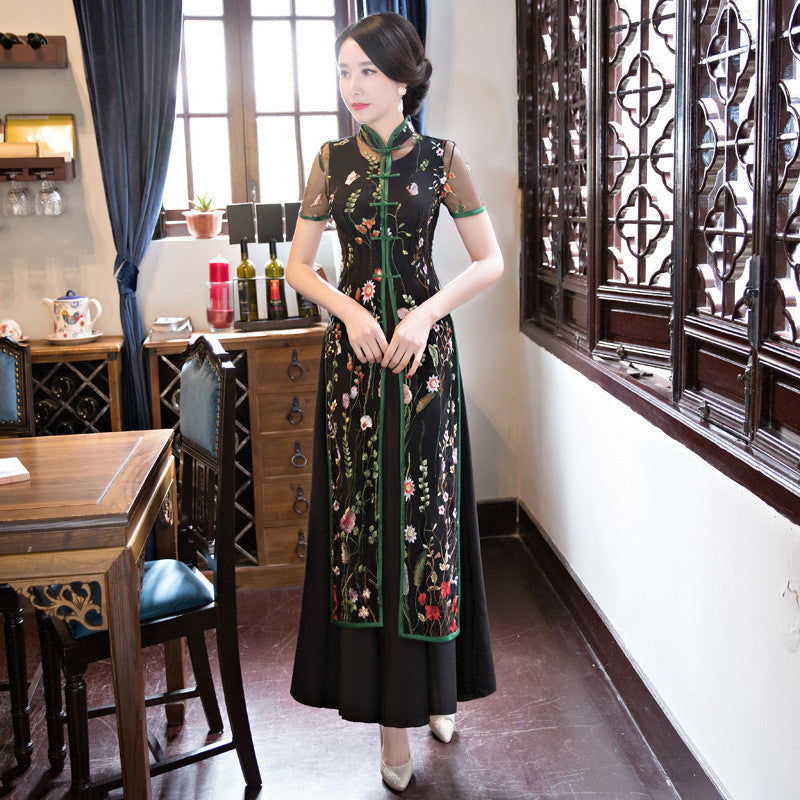 Florals Printed Black Two Pieces Set Ao Dai Dress - KINGEOUS