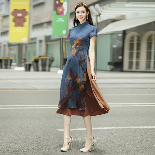 High Quality Three Colors Traditional Ao Dai Cheongsam Dress