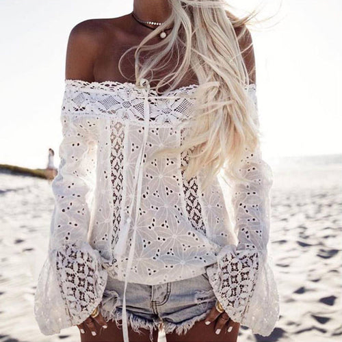 Sexy Boat Neck Hollow Lace Trumpet Sleeve T-shirt
