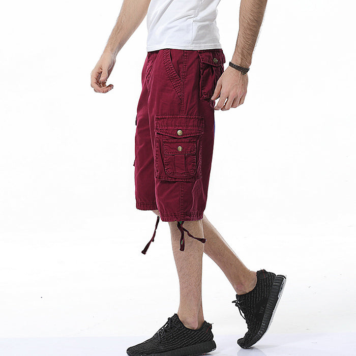 Leisure New Style Washed Solid Color Men's Shorts