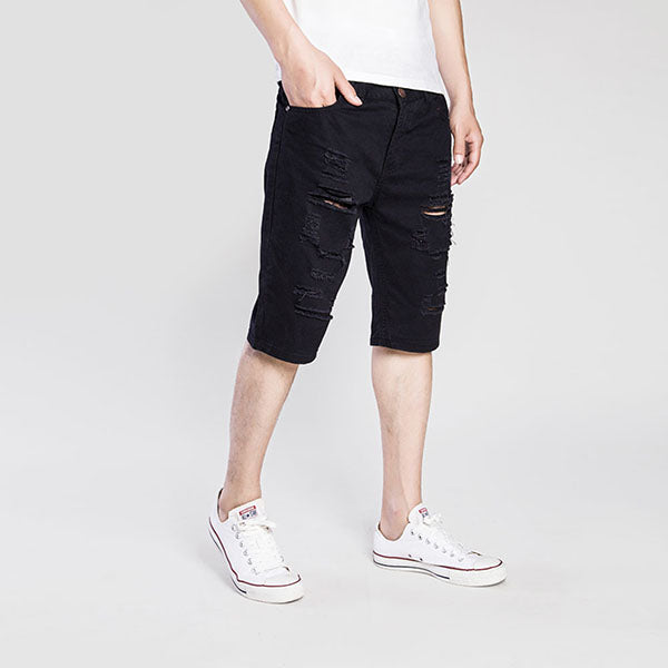 Casual Solid Color Hole Design Washed Men's Shorts - KINGEOUS