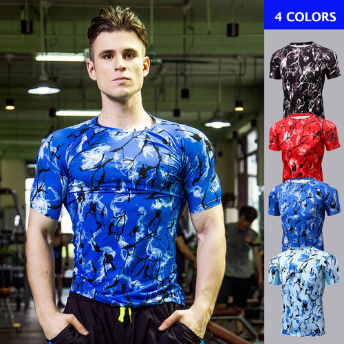 Cool Pattern Printed Fitness Men's Sportswear T-shirt - KINGEOUS
