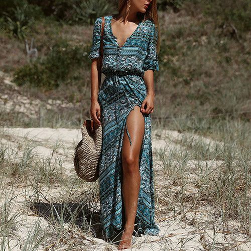 Fashion Boho Pattern Printed Half Sleeve Maxi Dress - KINGEOUS