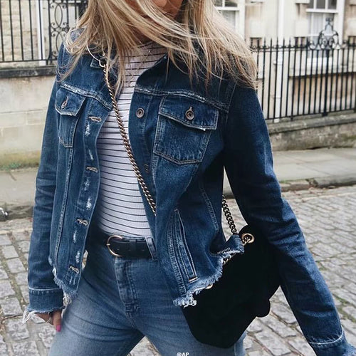 Fashion Destroyed Lapel Slim Long Sleeve Denim Jacket - KINGEOUS